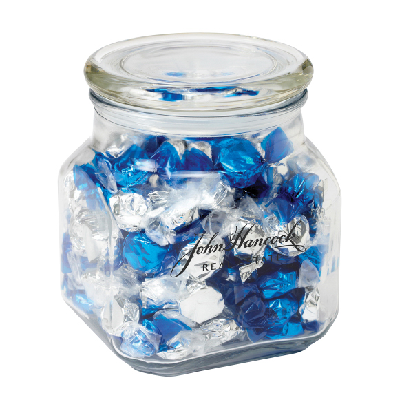 Custom Contemporary Glass Jar / Foil Wrapped Hard Candy