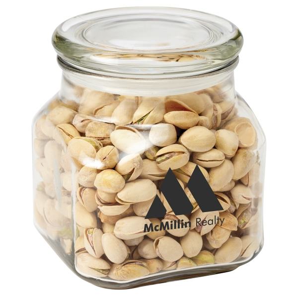 Personalized Contemporary Glass Jar / Pistachio Nuts