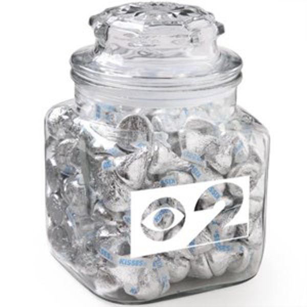 Custom Square Glass Jar / Hershey's Kisses (R)