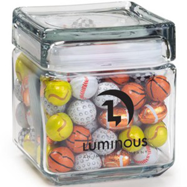 Customized Square Glass Jar / Chocolate Sport Balls
