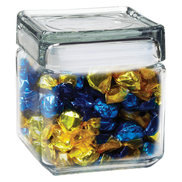 Promotional Square Glass Jar / Foil Wrapped Hard Candy
