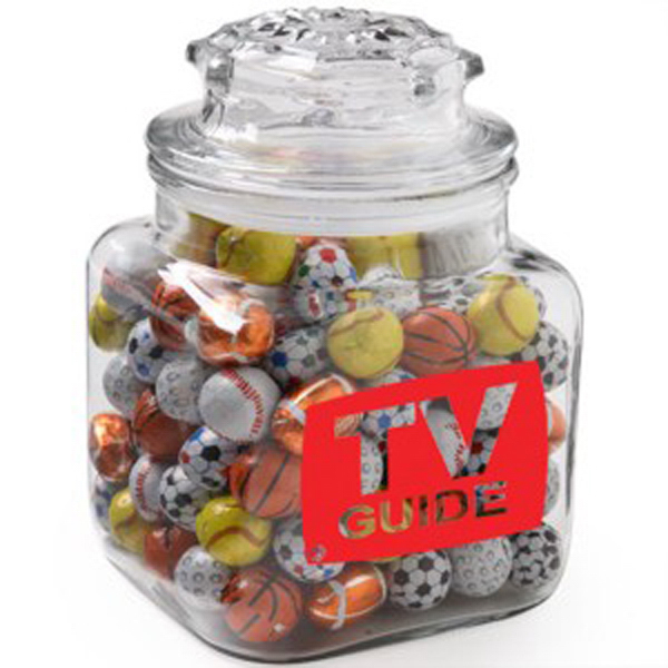 Printed Classic Glass Apothecary Jar / Chocolate Sport Balls
