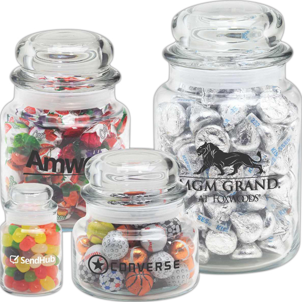 Promotional Round Glass Jar / Chocolate Earth Balls