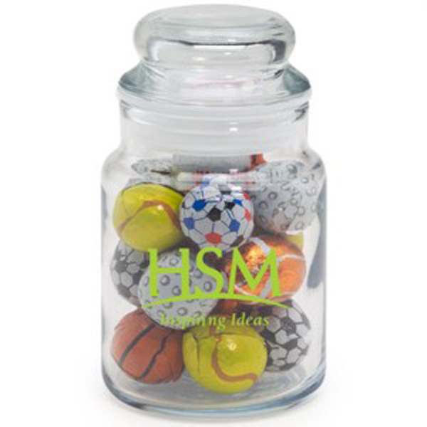 Promotional Round Glass Jar / Chocolate Sports Balls