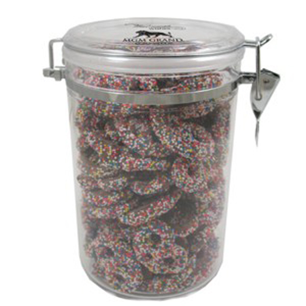 Personalized Large Acrylic Snack Container / Sprinkled Pretzels