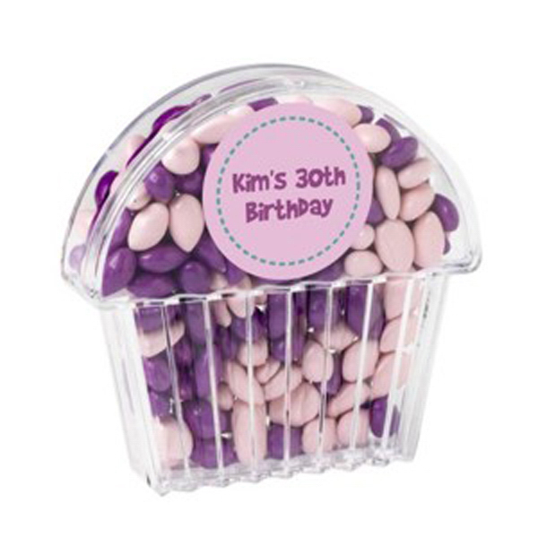 Imprinted Cupcake Container / Chocolate Covered Sunflower Seeds