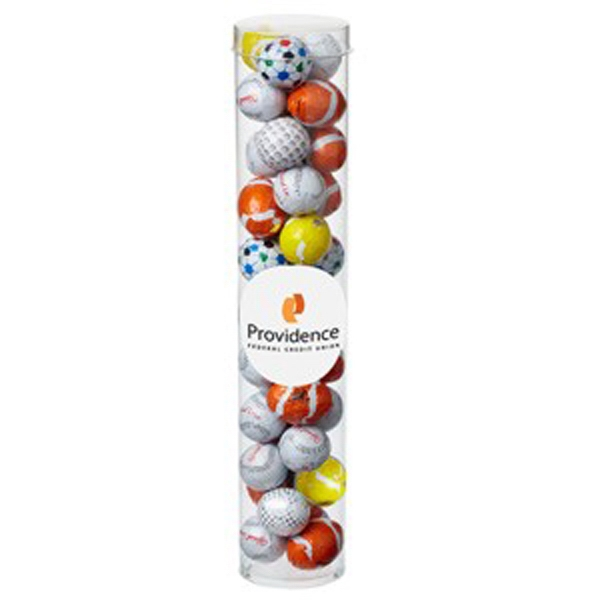 Personalized Large Tube with Clear Cap / Chocolate Sport Balls