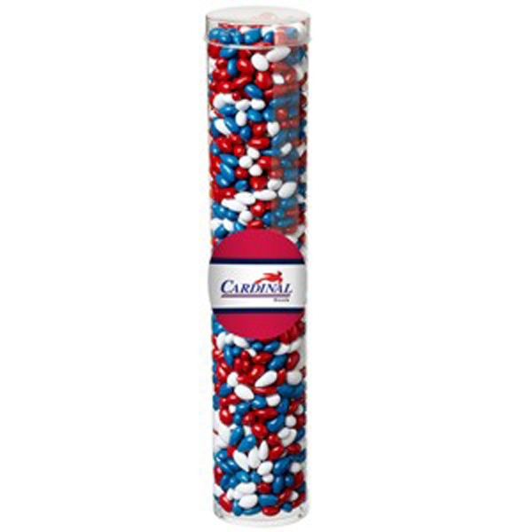Imprinted Large Tube with Clear Cap/Chocolate Covered Sunflower Seeds
