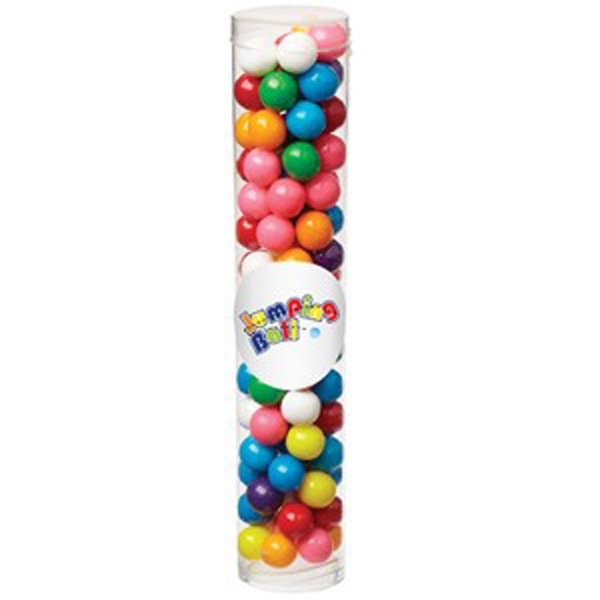 Personalized Large Tube with Clear Cap / Gumballs