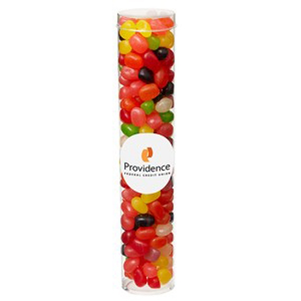 Imprinted Large Tube with Clear Cap / Jelly Beans Assorted