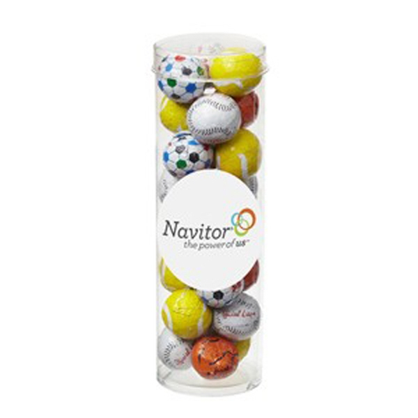 Imprinted Small Tube with Clear Cap / Chocolate Sport Balls