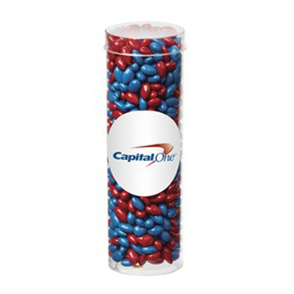 Imprinted Small Tube with Clear Cap/Chocolate Covered Sunflower Seeds