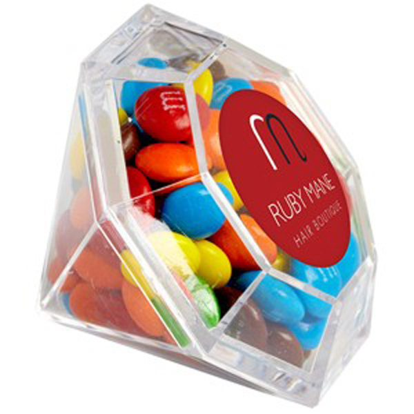 Promotional Diamond Gem Container / Mini Candy Coated Chocolate