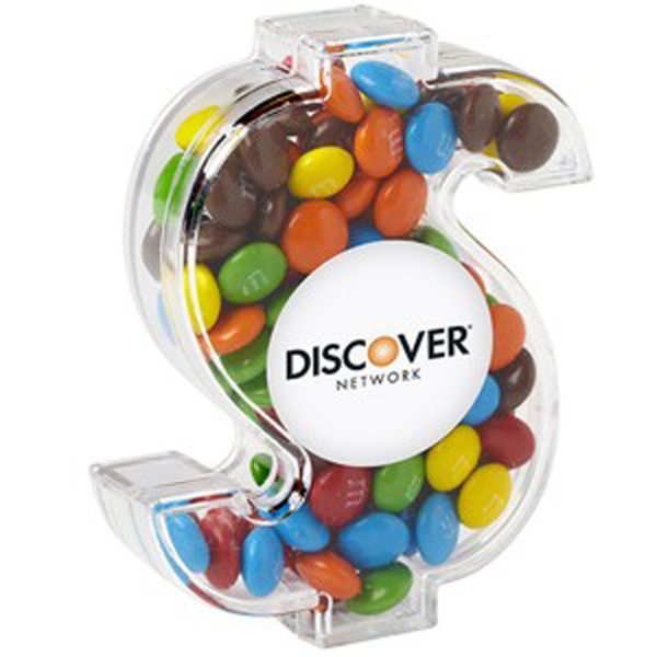 Imprinted Dollar Sign Container /Candy Coated Chocolate