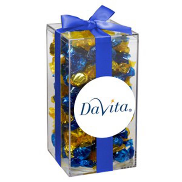 Imprinted Medium Acrylic Gift Box with Bow / Foil Wrapped Hard Candy