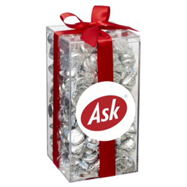 Printed Large Acrylic Gift Box with Bow / Hershey's Kisses (R)