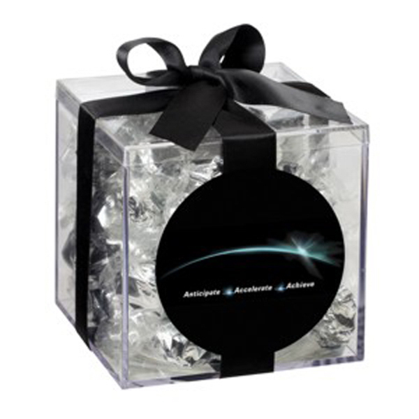 Printed Medium Acrylic Gift Box with Bow / Foil Wrapped Hard Candy