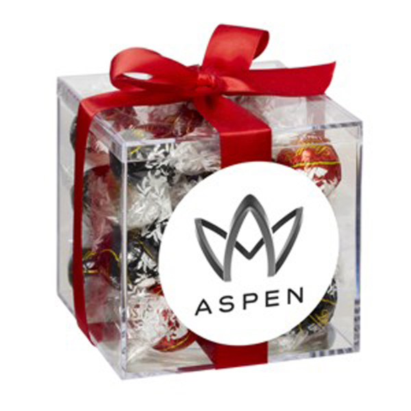 Imprinted Medium Acrylic Gift Box with Bow / Lindt (R) Truffles
