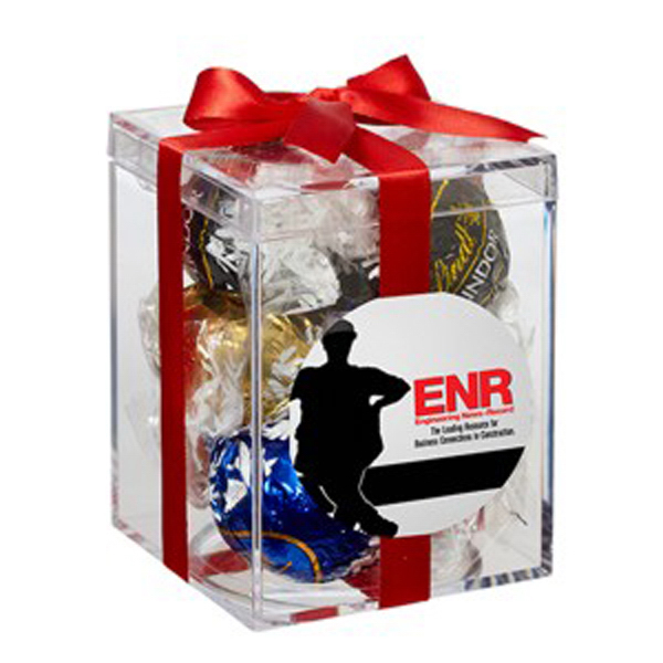 Promotional Small Acrylic Gift Box with Bow / Lindt (R) Truffles