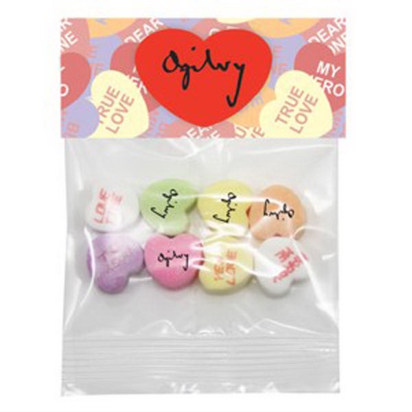 Imprinted Conversation Hearts Header Bag/4 Custom 4 Random Messages