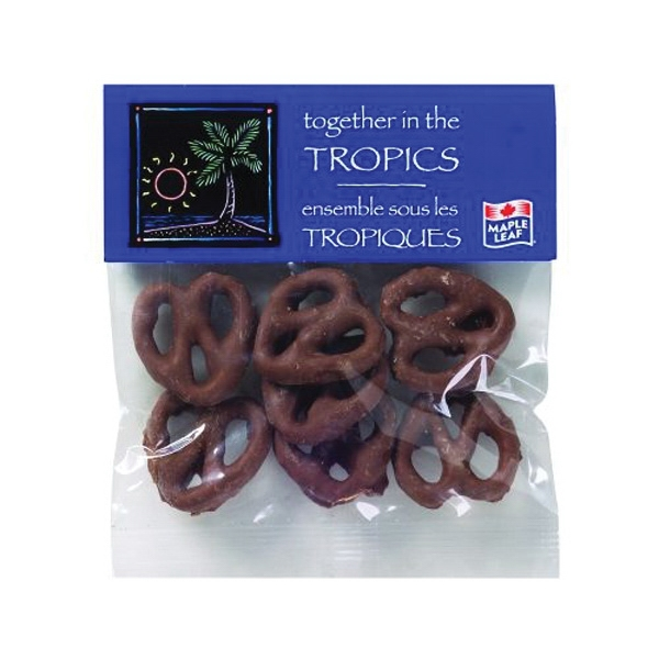 Imprinted 2 oz Chocolate Pretzels / Header Bag