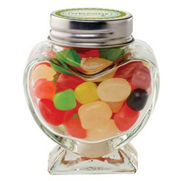 Custom Glass Heart Jar / Jelly Beans Assorted
