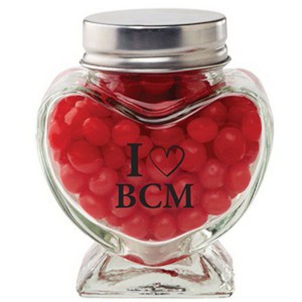 Imprinted Glass Heart Jar / Red Hots (R)