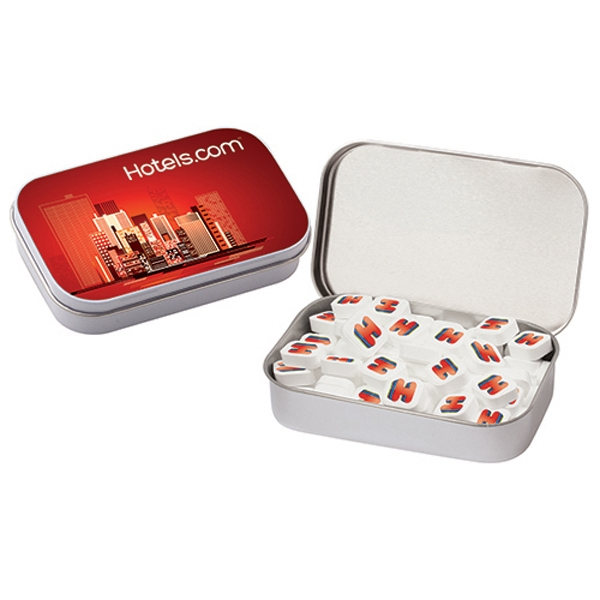 Customized Printed Peppermints Sugar Free / Large Hinged Tin