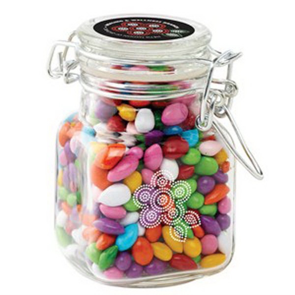 Printed Glass Hinge Top Jar / Chocolate Covered Sunflower Seeds