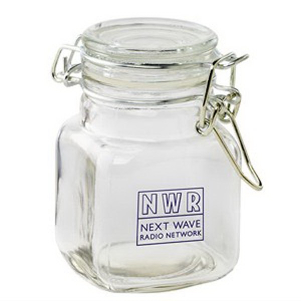 Personalized Glass Hinge Top Jar / Empty Jar