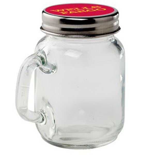 Printed Glass Mason Jar / Empty