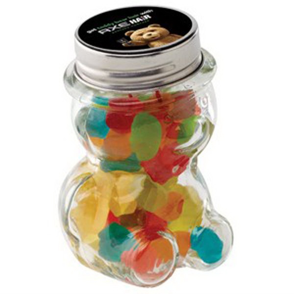 Imprinted Glass Teddy Bear Jar / Mini Gummy Bears