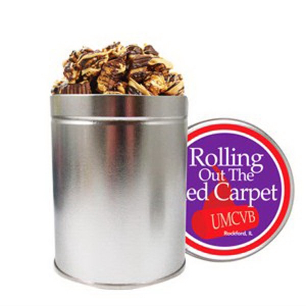 Personalized Quart Round Tin / Peanut Butter Cup Popcorn