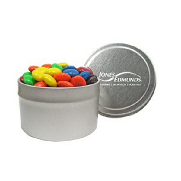 Customized 1/8 Quart Round Tin / Candy Coated Chocolate