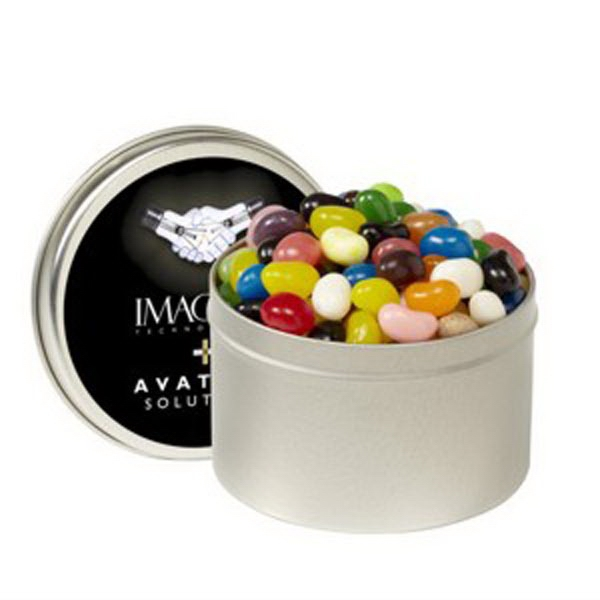Custom 1/4 Quart Round Tin / Gourmet Jelly Beans