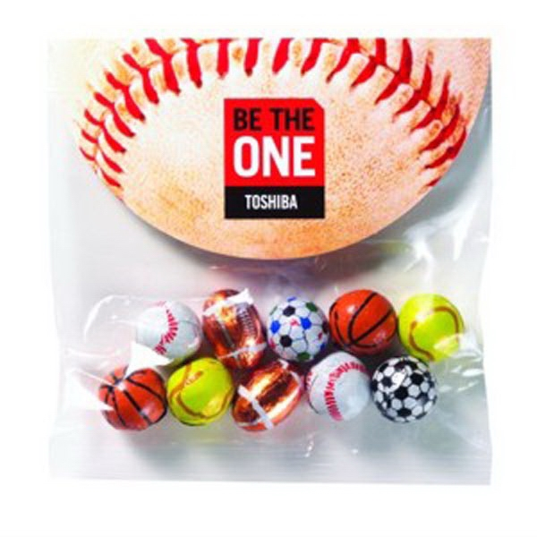 Printed 2.3 oz Chocolate Sport Balls / Header Bag