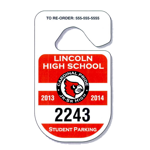 Imprinted Rounded Hang Tag Parking Permit