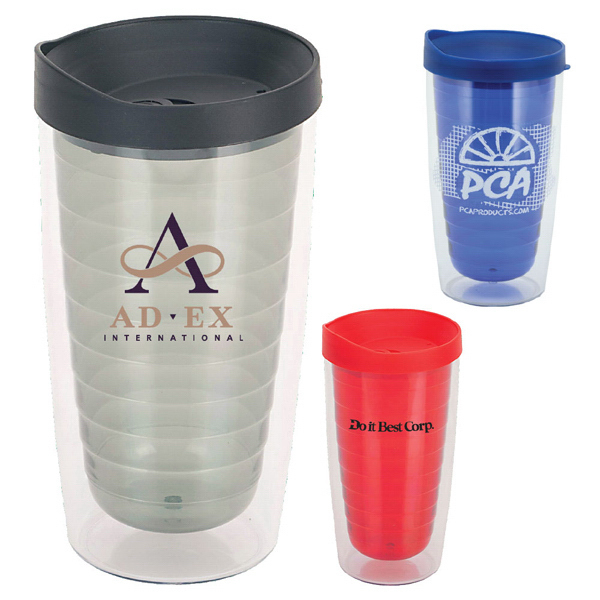Imprinted Trevivid 16 oz. Double Wall Acrylic Tumbler with Lid