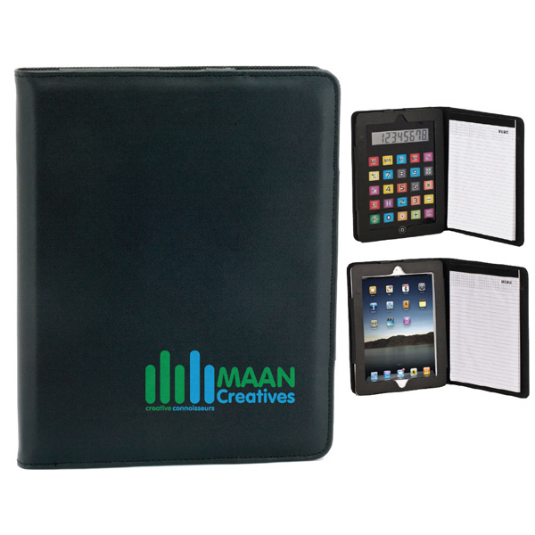 Imprinted Simulated Leather Case for iPad w/ Removable Calculator