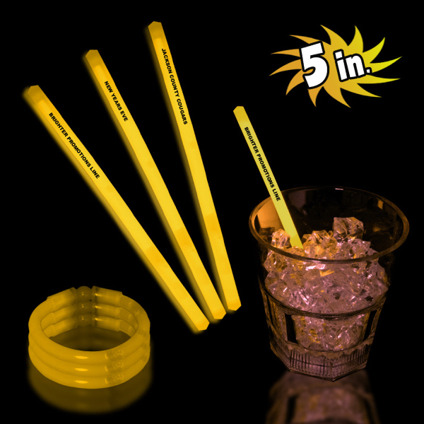 "Printed Yellow 5"" Single Color Glow Swizzle Stick"
