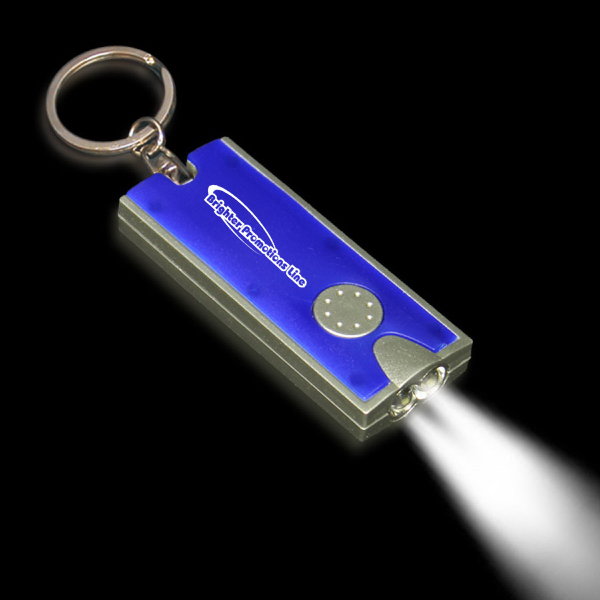 Promotional Silver & Blue Flashlight Keychain