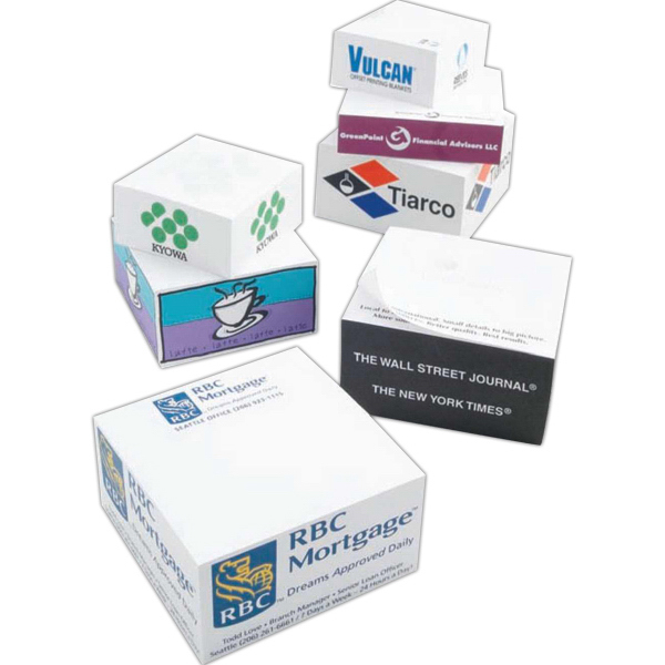 Imprinted Non-Adhesive Note Cube (R) - Half Size