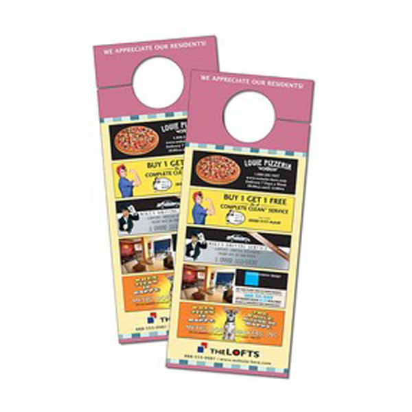 Imprinted Door Hanger - 3.5x8.5 Extra-Thick Laminated with Slit -24 pt