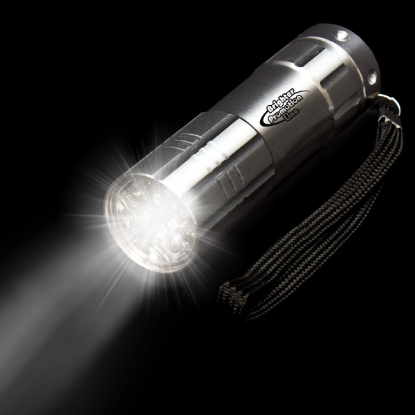 "Promotional Silver 3 3/4"" Metallic LED Flashlight"
