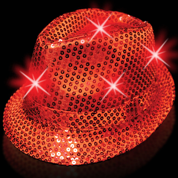 Personalized Red Sequin LED Fedora
