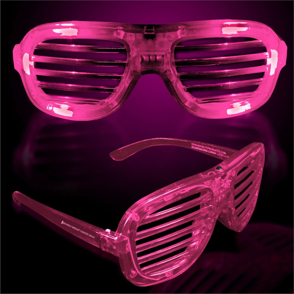 Custom Pink Light-Up LED Slotted Glasses