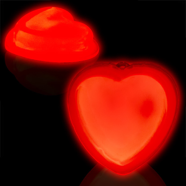 "Imprinted 3"" Self-Adhering Heart Shaped Glow Badge"