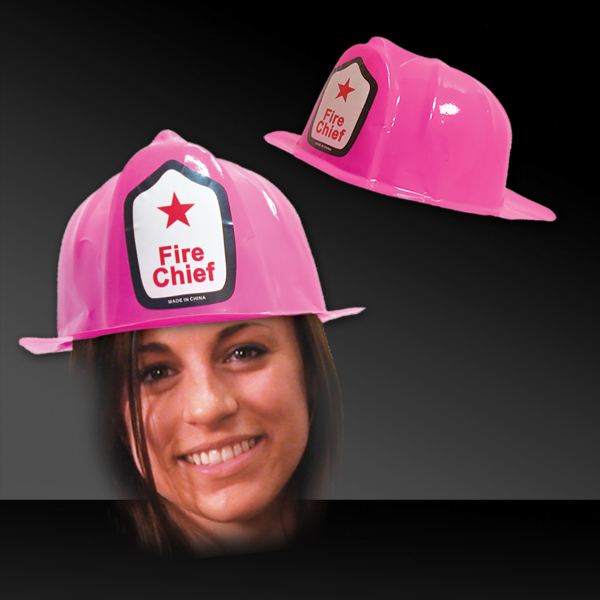 Printed Pink Plastic Novelty Fire-Fighter Hat