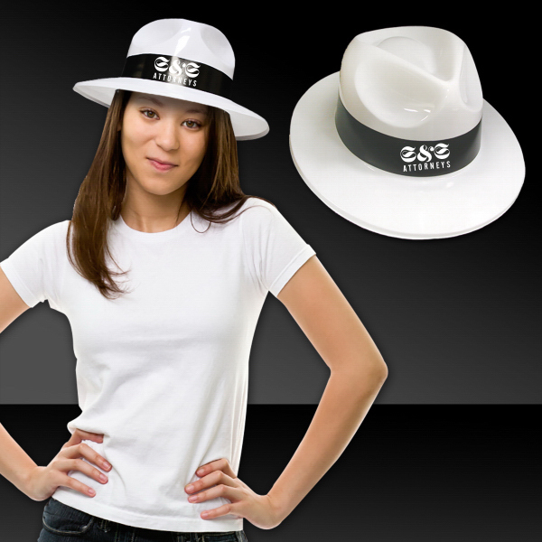Custom White Plastic Fedora Hat