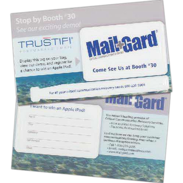 Promotional Mail Card with Built in Luggage Tag and Strap